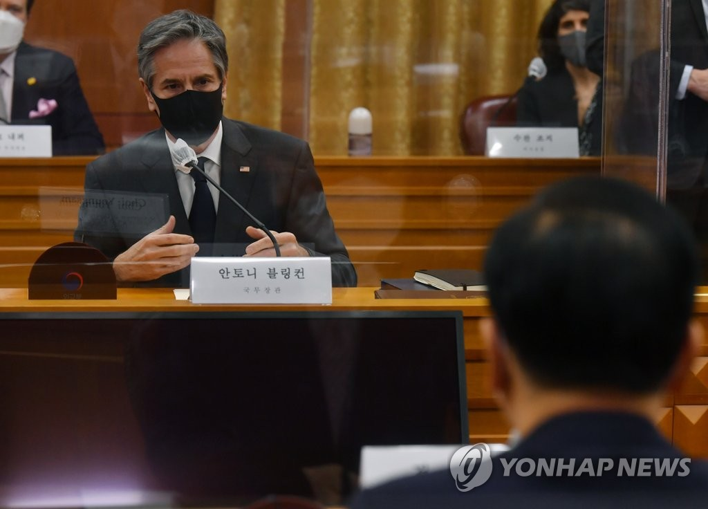 This photo, taken on March 17, 2021, shows U.S. Secretary of State Antony Blinken speaking during a meeting with South Korean Foreign Minister Chung Eui-yong at the foreign ministry in Seoul. (Pool photo) (Yonhap)