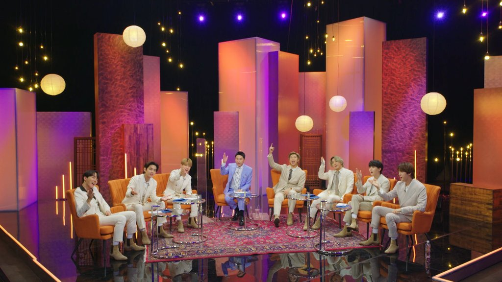 "This file photo, provided by KBS2-TV, shows the global K-pop sensation BTS appearing on the network's special talk show ""Let's BTS"" on March 29, 2021. (PHOTO NOT FOR SALE) (Yonhap)"
