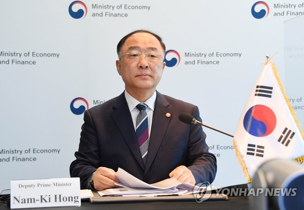 This photo, provided by the Ministry of Economy and Finance on May 3, 2021, shows South Korean Finance Minister Hong Nam-ki attending an online trilateral meeting of the financial chiefs of South Korea, China and Japan. (PHOTO NOT FOR SALE) (Yonhap)
