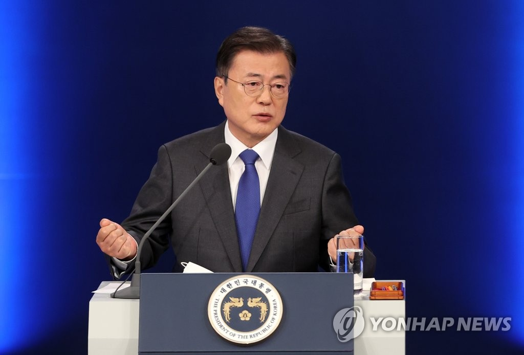 President Moon Jae-in speaks to reporters during a press conference at the Chunchugwan press room of Cheong Wa Dae in Seoul on May 10, 2021. (Yonhap)