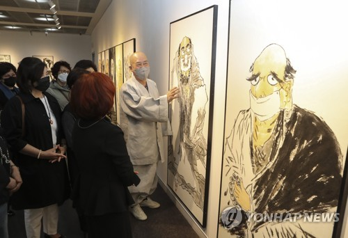 Paintings of Bodhidharma wearing face mask