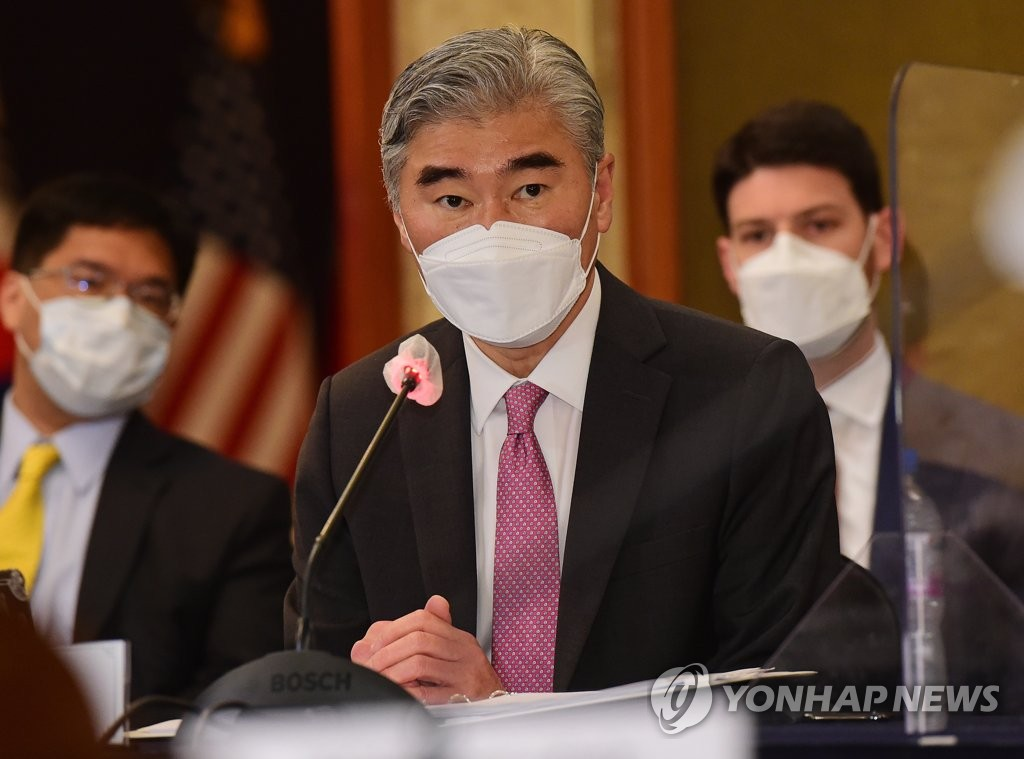 Sung Kim, new U.S. special representative for North Korea, speaks during trilateral talks with his South Korean and Japanese counterparts at the Lotte Hotel in central Seoul in this pool photo taken on June 21, 2021. (Yonhap)