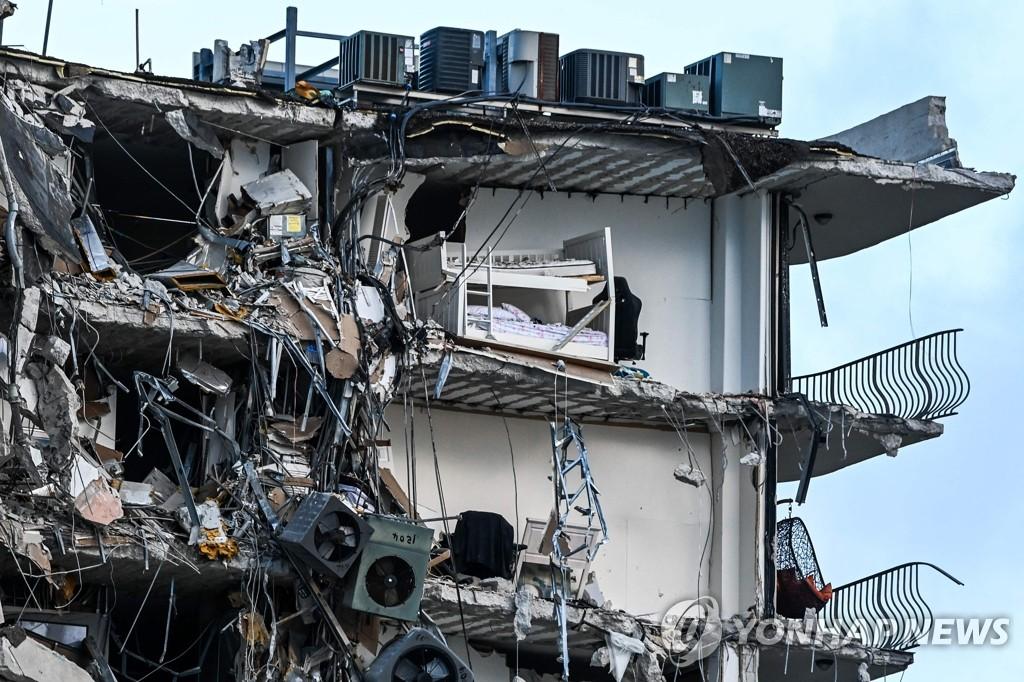 붕괴 건물에 걸쳐져 있는 잔해와 기물
