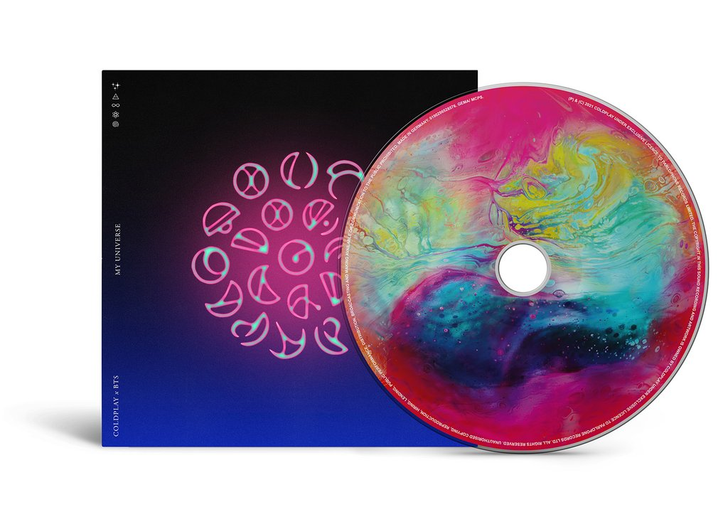 """This image, provided by Warner Music Korea, shows the CD for """"My Universe,"""" a collaboration song by BTS and Coldplay. (PHOTO NOT FOR SALE) (Yonhap)"""