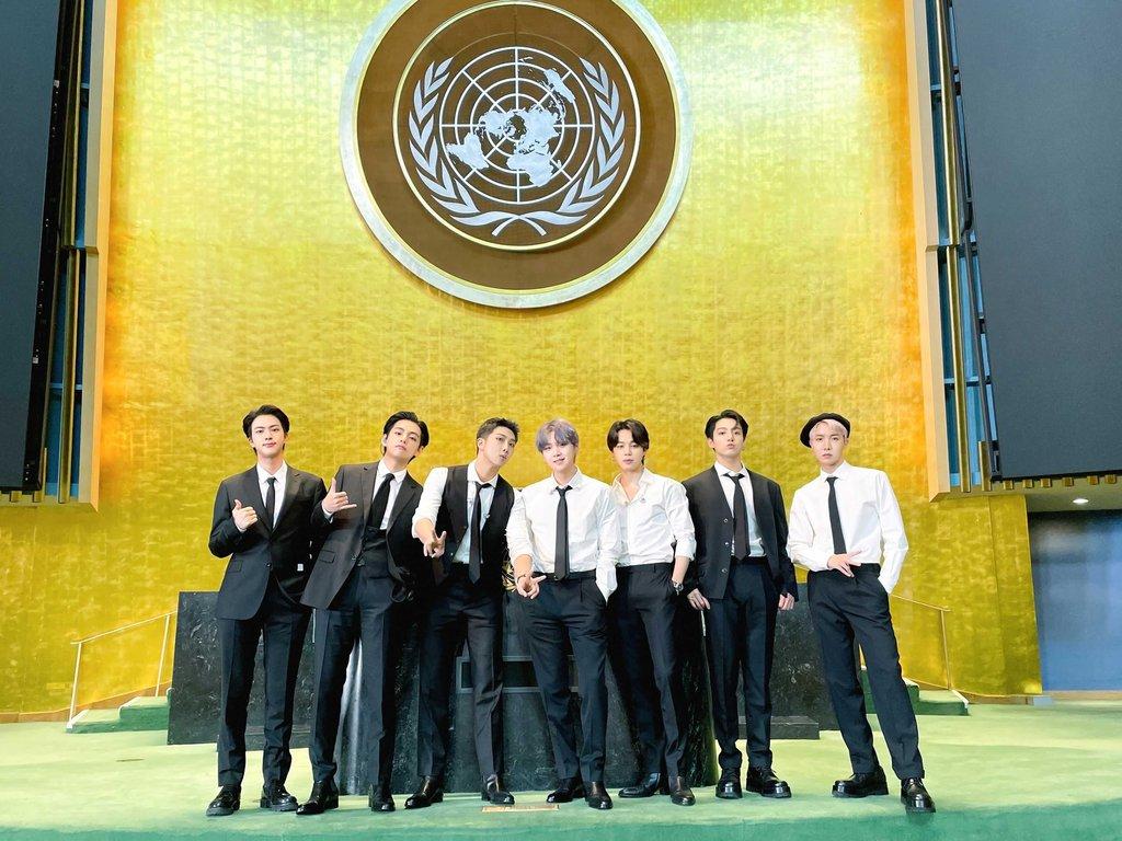 유엔 총회장에 선 BTS